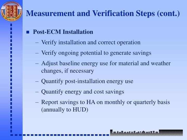 Measurement and Verification Steps (cont.)