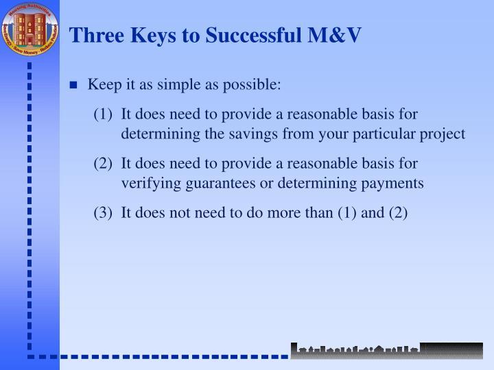 Three Keys to Successful M&V