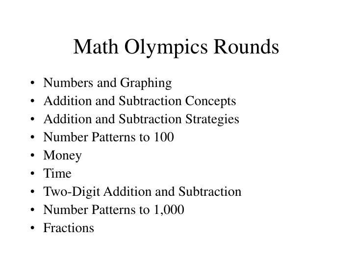 Math Olympics Rounds