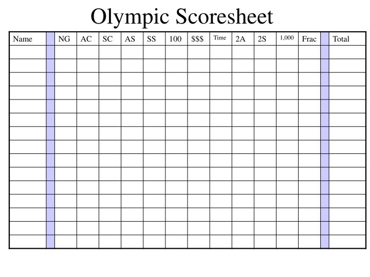 Olympic Scoresheet