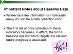 important notes about baseline data