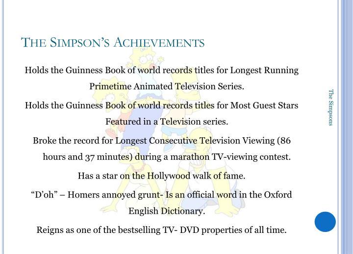 The Simpson's Achievements