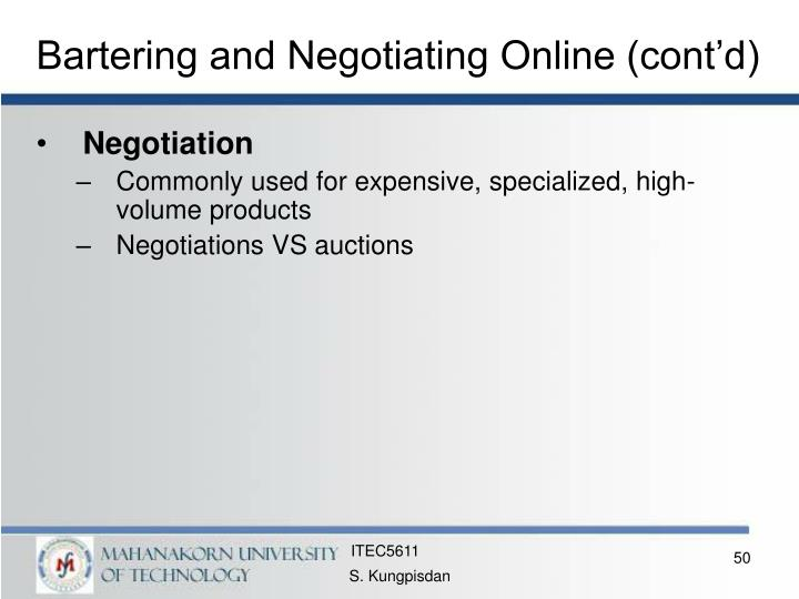 Bartering and Negotiating Online (cont'd)