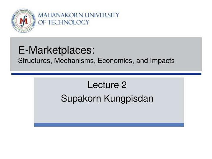 E-Marketplaces: