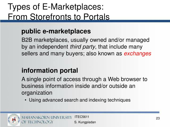 Types of E-Marketplaces: