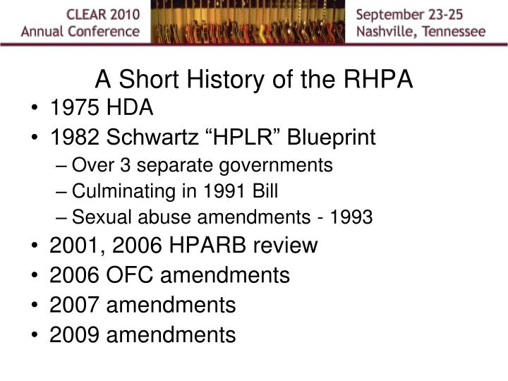 A Short History of the RHPA