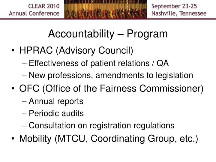Accountability – Program
