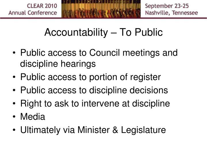 Accountability – To Public