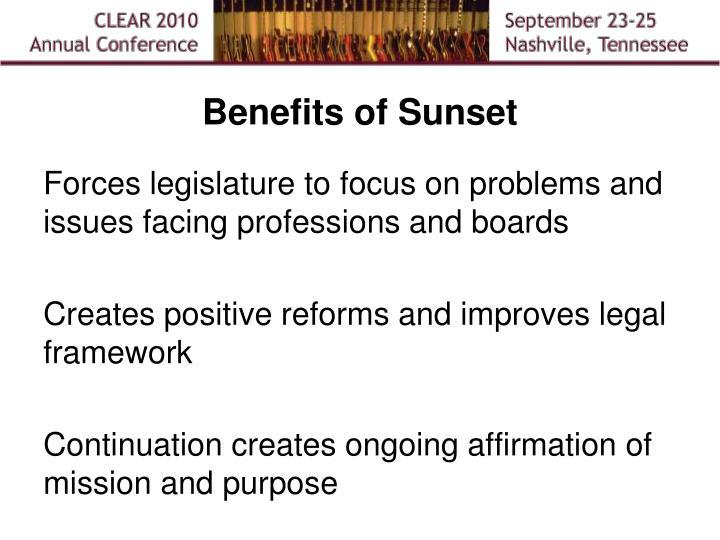 Benefits of Sunset