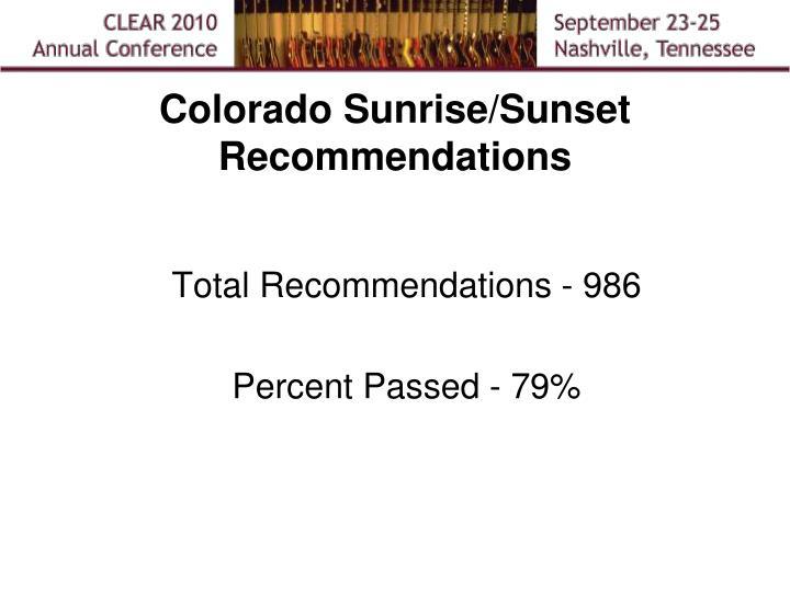 Colorado Sunrise/Sunset Recommendations