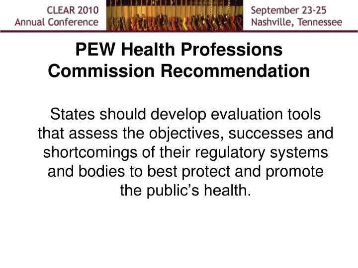 PEW Health Professions Commission Recommendation