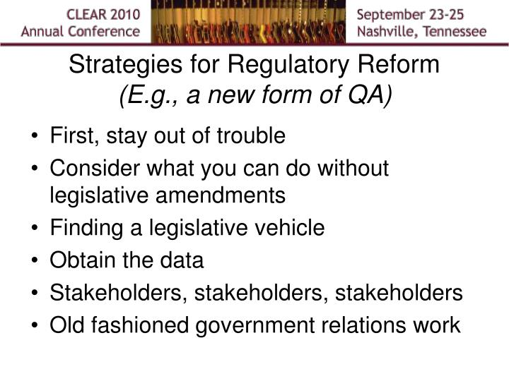 Strategies for Regulatory Reform