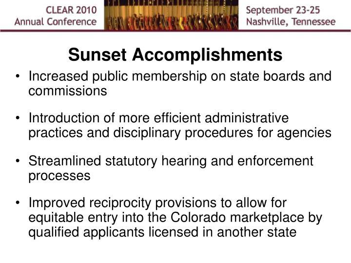 Sunset Accomplishments
