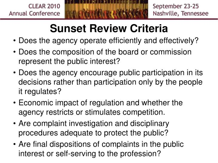 Sunset Review Criteria