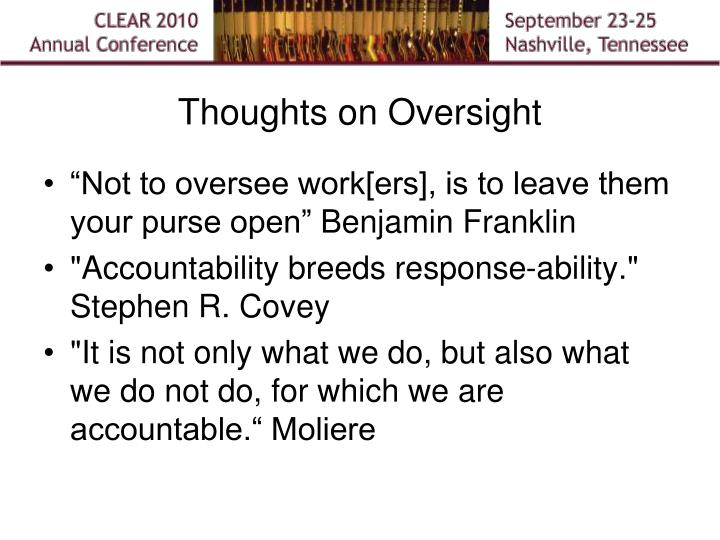 Thoughts on Oversight