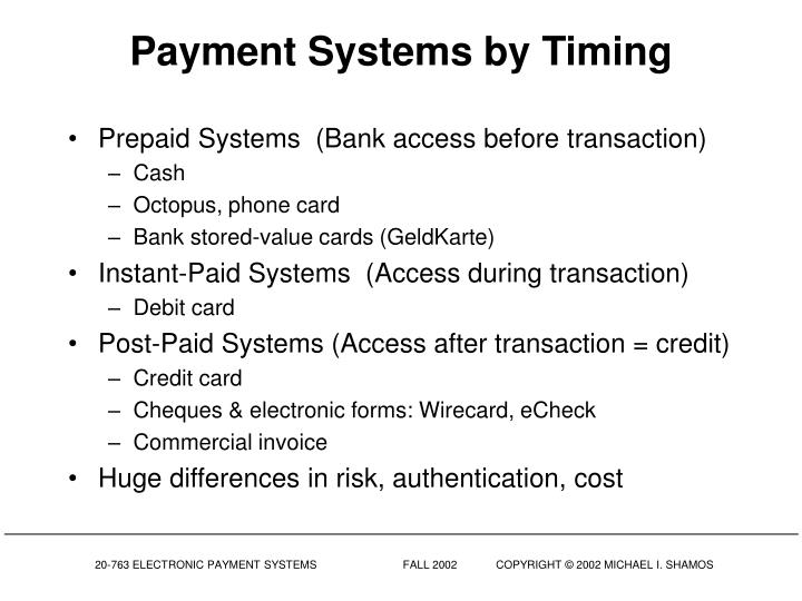 Payment Systems by Timing