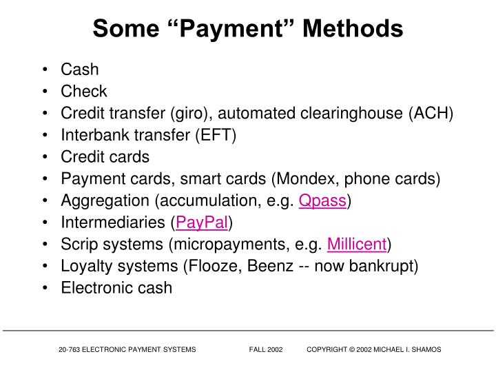 "Some ""Payment"" Methods"