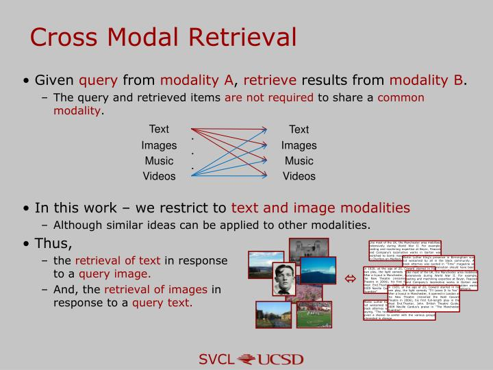 Cross Modal Retrieval