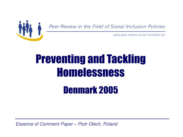 Preventing and Tackling Homelessness
