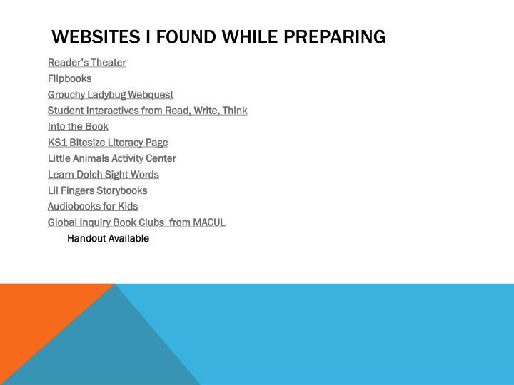 Websites I found while preparing