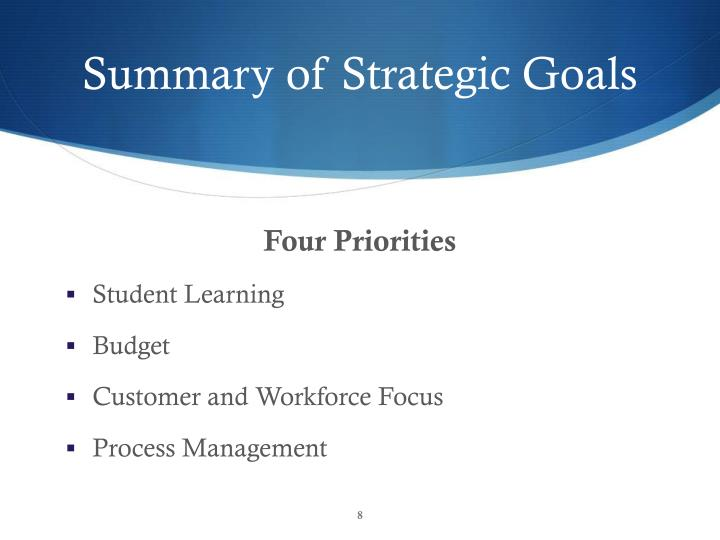 Summary of Strategic Goals