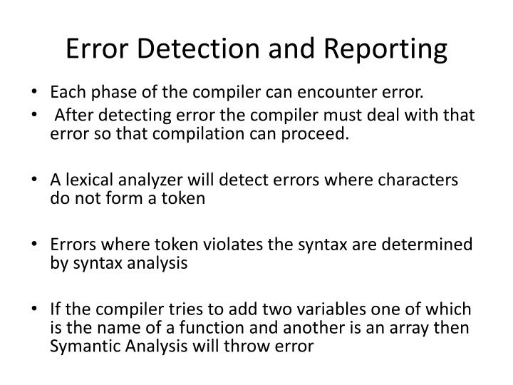 Error Detection and Reporting