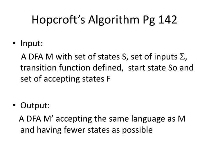 Hopcroft's Algorithm Pg 142