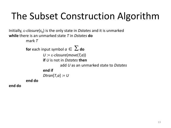 The Subset Construction Algorithm