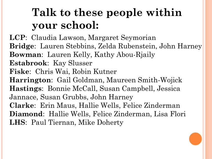 Talk to these people within your school: