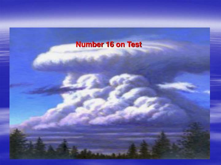 Number 16 on Test