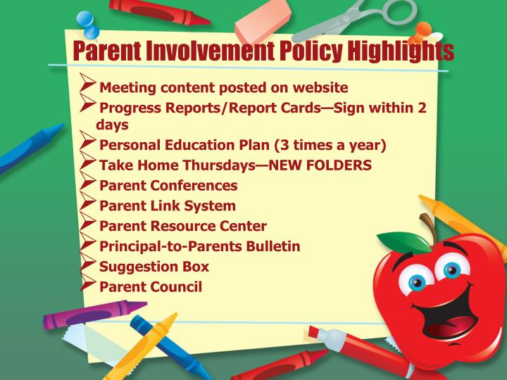 Parent Involvement Policy Highlights