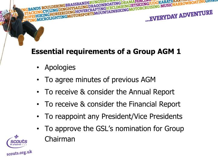 Essential requirements of a Group AGM 1