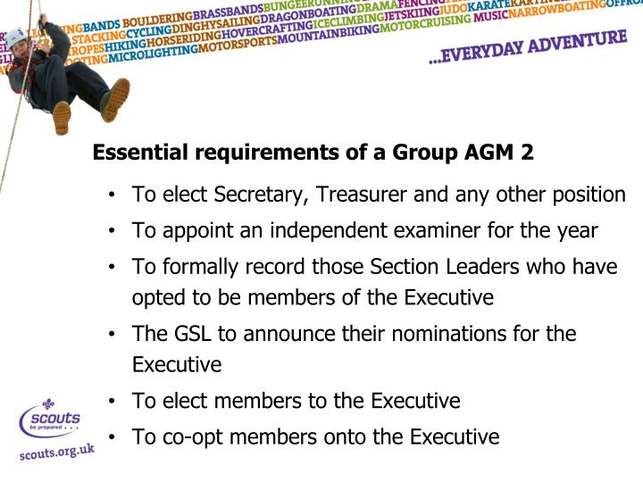 Essential requirements of a Group AGM 2