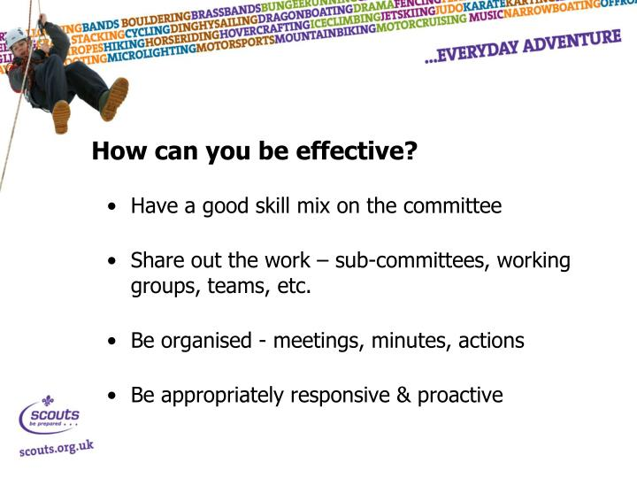 How can you be effective?