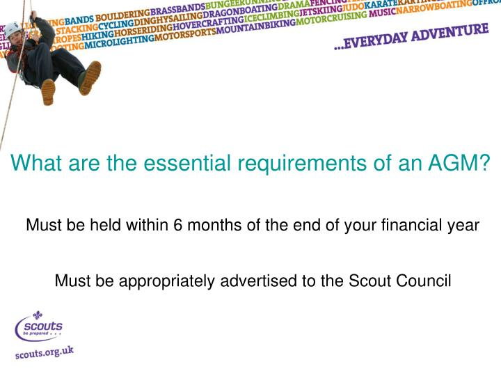 What are the essential requirements of an AGM?
