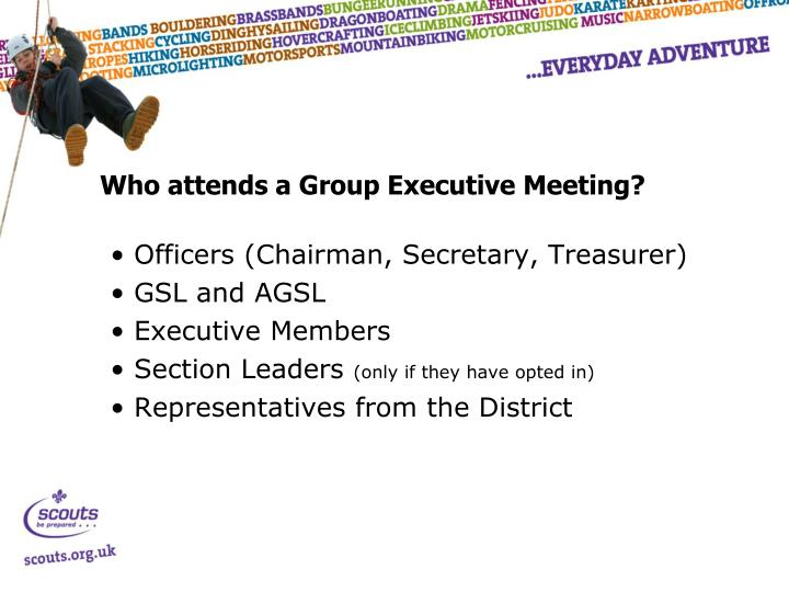 Who attends a Group Executive Meeting?
