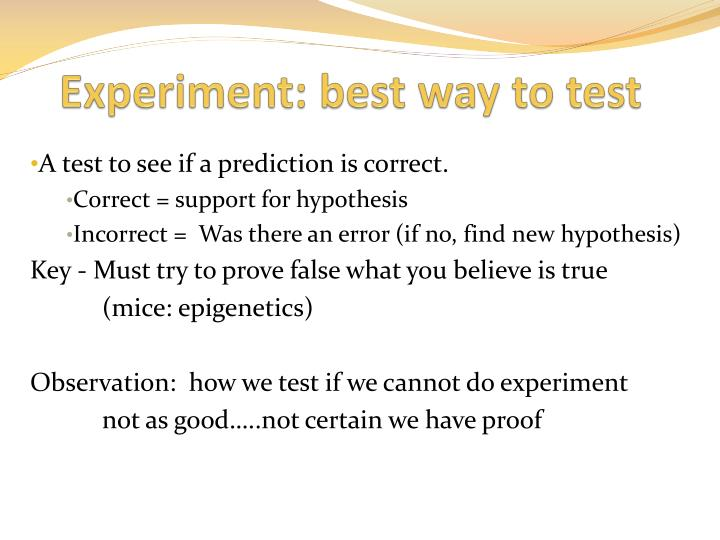 Experiment: best way to test