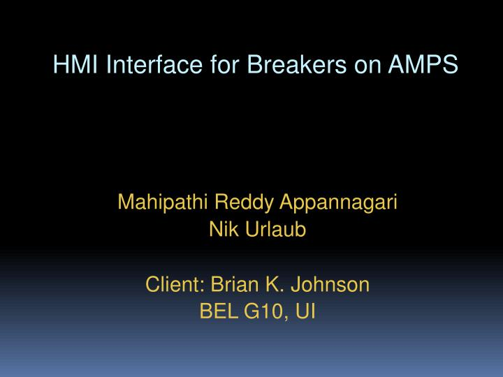 HMI Interface for Breakers on AMPS