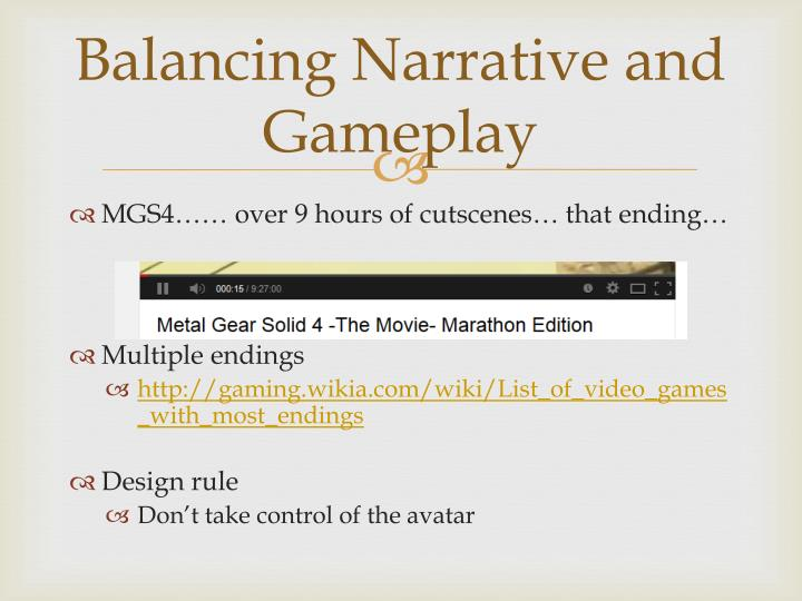 Balancing Narrative and Gameplay