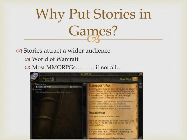 Why put stories in games1