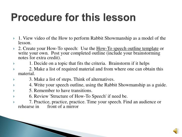 Procedure for this lesson