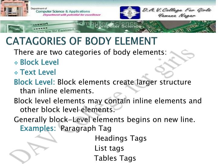 Catagories of body element