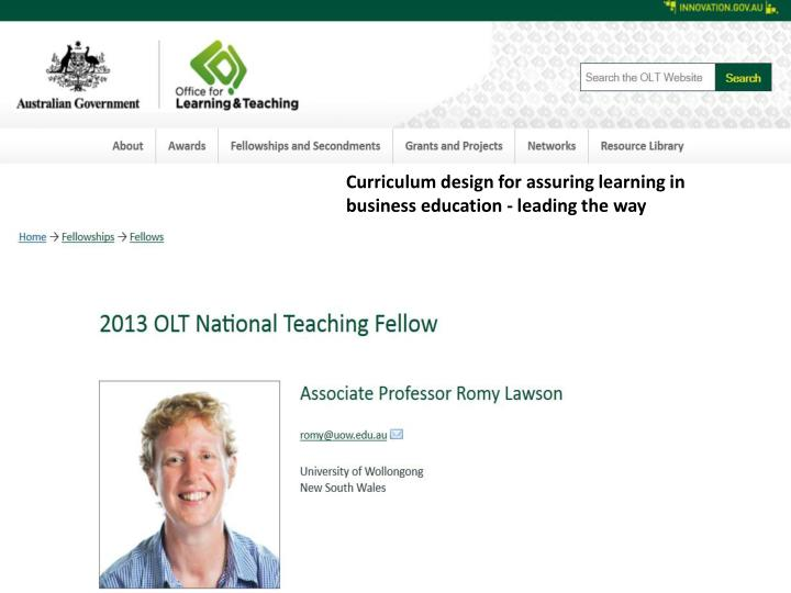 Curriculum design for assuring learning in business education - leading the way