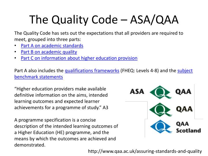 The quality code asa qaa