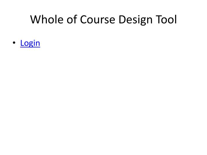 Whole of Course Design Tool