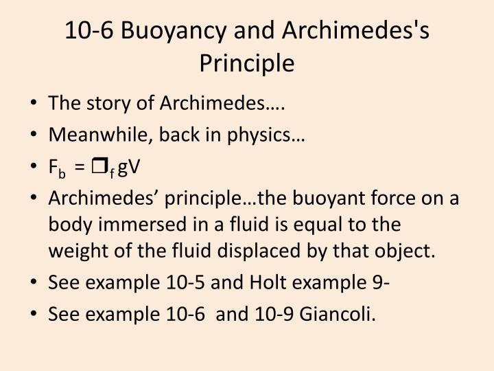10 6 buoyancy and archimedes s principle