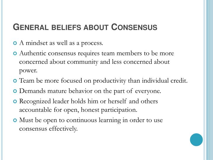 General beliefs about Consensus