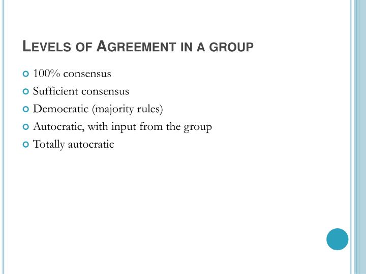 Levels of Agreement in a group