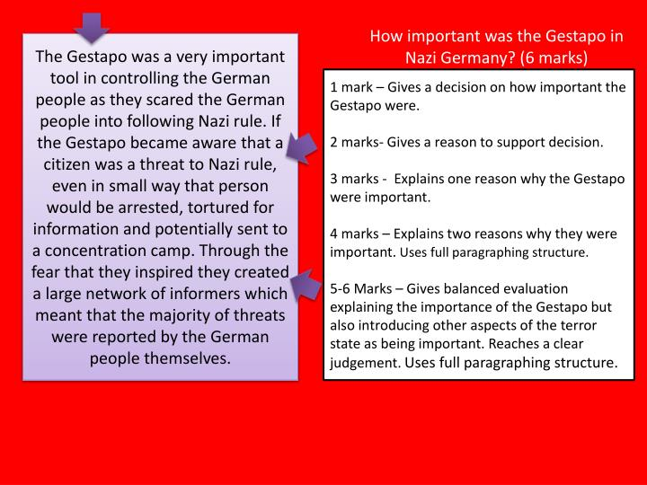 How important was the Gestapo in Nazi Germany? (6 marks)