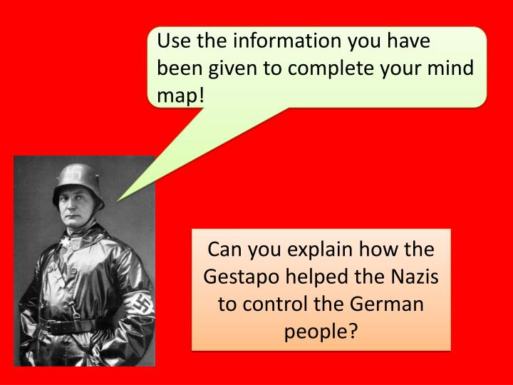Use the information you have been given to complete your mind map!